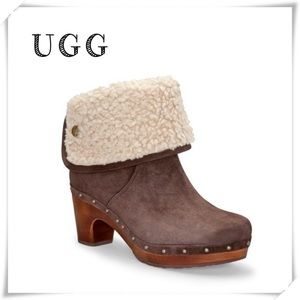 UGG 1955 Lynnea Damen Suede Wood Wedge Boot Brown